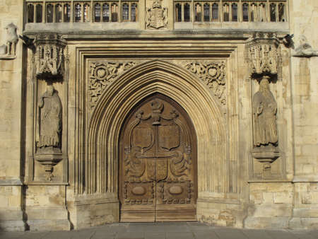 Close gate of Bath cathedral in UK. Stock Photo