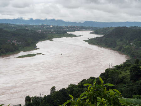 Mekong river running throug Thailand and Loas border. Stock Photo