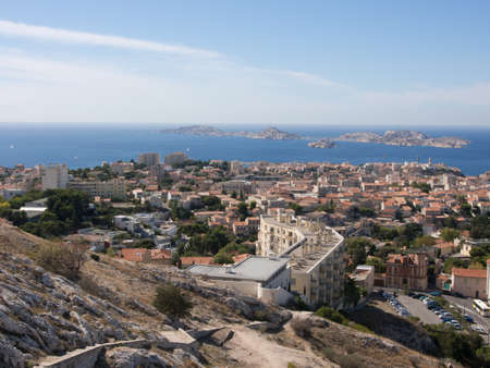 View of Marseille from a hill with sea and sky view.