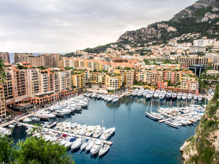 harbor and houses in Monaco.