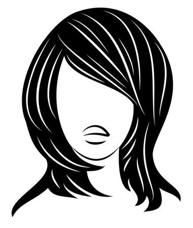 Silhouette of a head of a sweet lady. A girl shows a hairstyle of a woman on medium and long hair. Suitable for logo, advertising. Vector illustration  イラスト・ベクター素材