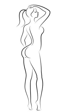 Silhouette einer süßen stehenden Dame. Das Mädchen hat eine schöne Figur. Vektor-Illustration.