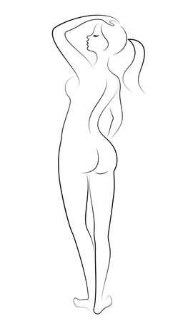 Silhouette d'une douce dame debout. La fille a une belle silhouette mince. Illustration vectorielle.