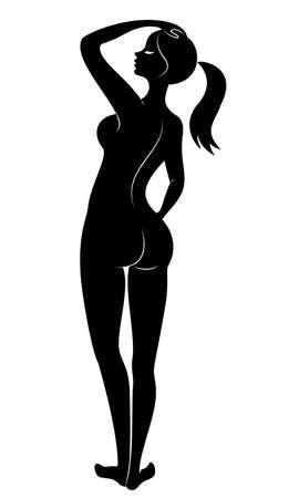 Silhouette d'une douce dame debout. La fille a une belle silhouette. Illustration vectorielle.