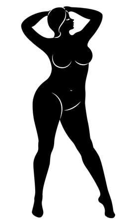 Siluetta della figura di una grande donna. La ragazza è in piedi. La donna è sovrappeso, è bella e sexy. Illustrazione vettoriale