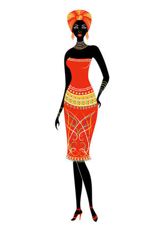 Slender beautiful African-American lady. The girl has bright clothes, a turban on her head. The woman is slender and beautiful. Vector illustration.
