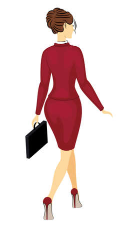 Business woman holding a briefcase. Beautiful girl in a strict red suit. A woman walks, shod in high-heeled shoes. Vector illustration.