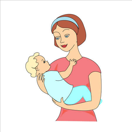 Giovane madre che abbraccia il suo bambino con cura e amore mentre dorme