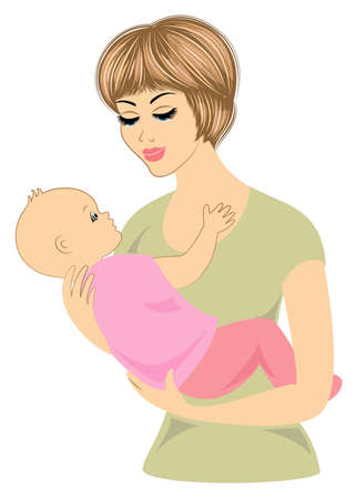 Profile of a sweet lady. Silhouette of the girl, she holds the baby in her arms. A young and beautiful woman. Happy motherhood. Frame in the form of heart. Vector illustration.
