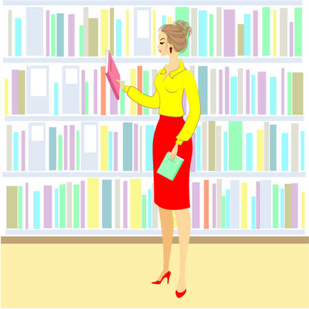 The girl in the library. A nice woman is looking at books for a lesson. Next shelf of the cabinet with books. Vector illustration.