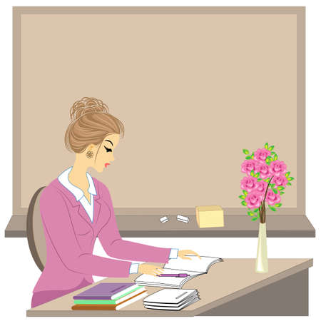Handsome young teacher. The girl is sitting at the table near the window. A woman writes in a class journal. Vector illustration.