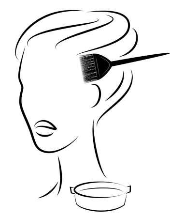 La ragazza fa una bella acconciatura per i capelli lunghi. Spazzola i capelli tinge i capelli. Dipingi in una ciotola speciale. Illustrazione vettoriale.