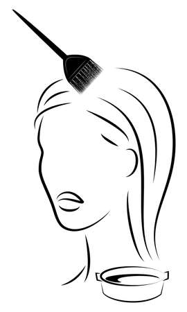 The girl makes a beautiful hairstyle for long hair. Brush hair dyes your hair. Paint in a special bowl. Vector illustation.