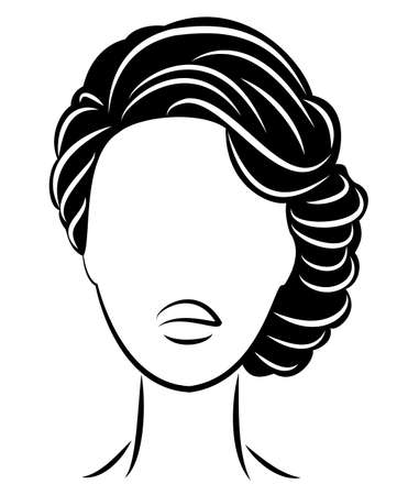 Silhouette of a profile of a sweet lady s head. The girl shows a female hairstyle on long and medium hair. Suitable for logo, advertising. Vector illustration. Ilustrace