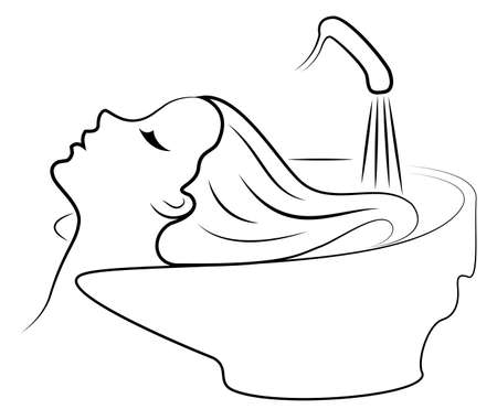 The main profile of a beautiful lady. The girl in the beauty salon. Woman washes her hair with water in the hairdresser s car wash. Vector illustration.