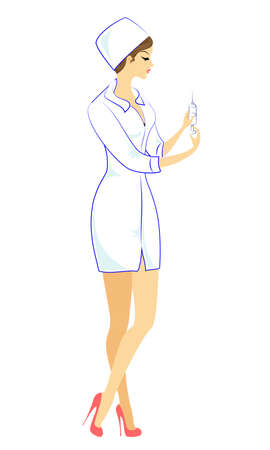 Beautiful nurse, doctor. The girl holds a folder to record the patient s medical history. The woman is an experienced professional. Vector illustration.
