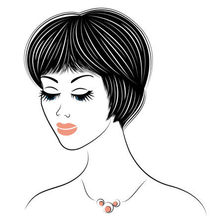 Silhouette of the head of a cute lady. The girl shows the hairstyle bob care with medium and short hair. Suitable for logo, advertising. Vector illustration.