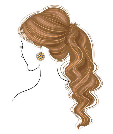 Silhouette of the head of a sweet lady. The girl shows a female hairstyle bundle on medium and long hair. Suitable for advertising, logo. Vector illustration. Illustration