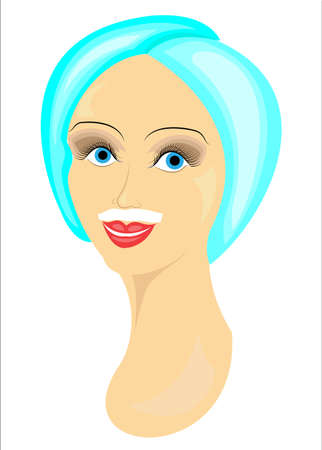 The face of a girl. The lady does the depilation of the face. Removes hair over the upper lip. Vector illustration.