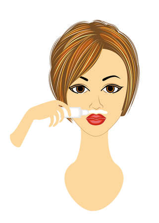 The face of a girl. The lady does the facial depilation on her own. Removes hair over the upper lip. Vector illustration.