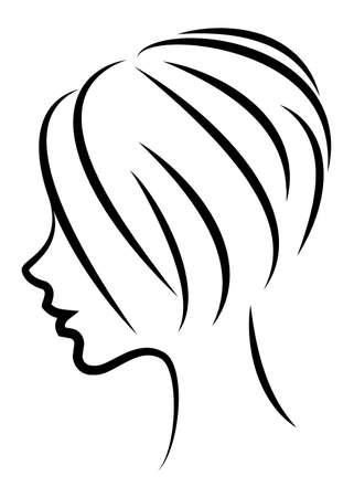 Silhouette of the head of a cute lady. The girl shows the hair bob care with mediumand short hair. Suitable for logo, advertising. Vector illustration.