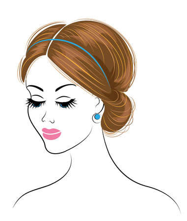 Silhouette of a head of a sweet lady. The girl shows a Greek hairstyle for long and medium hair. The woman is beautiful and stylish. Vector illustration. Vektorgrafik