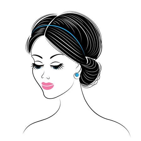 Silhouette eines Kopfes einer süßen Dame. Das Mädchen zeigt eine griechische Frisur für langes und mittleres Haar. Die Frau ist schön und stilvoll. Vektor-Illustration.
