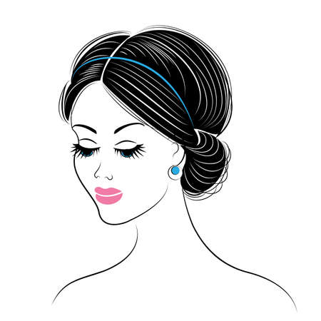 Silhouette of a head of a sweet lady. The girl shows a Greek hairstyle for long and medium hair. The woman is beautiful and stylish. Vector illustration.