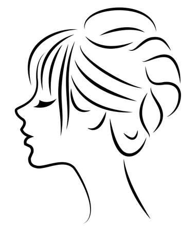 Silhouette d'un profil de la tête d'une douce dame. La fille montre une coiffure féminine sur les cheveux longs et moyens. Convient pour le logo, la publicité. Illustration vectorielle. Logo