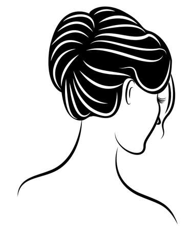Silhouette of a profile of a sweet lady s head. The girl shows a female hairstyle on long and medium hair. Suitable for logo, advertising. Vector illustration. Ilustração
