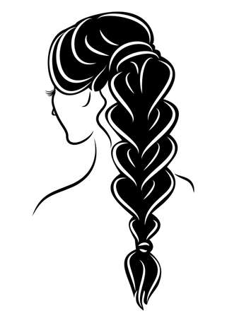 Silhouette profile of a cute lady s head. The girl shows the female hairstyle braid on long and medium hair. Suitable for advertising, logo. Vector illustration.