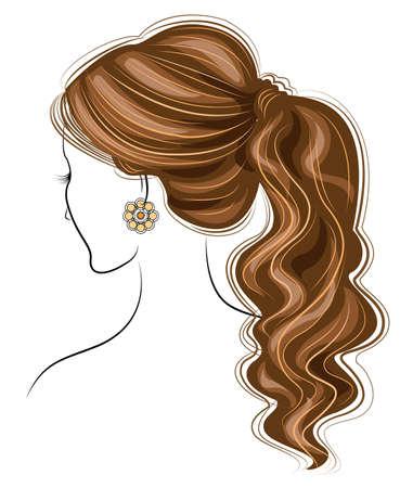 Silhouette d'un profil de la tête d'une douce dame. La fille montre une coiffure féminine sur les cheveux longs et moyens. Convient pour le logo, la publicité. Illustration vectorielle.