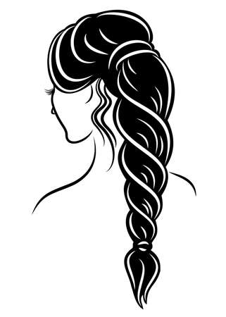Profil de silhouette d'une tête de dame mignonne. La fille montre la tresse de coiffure féminine sur les cheveux longs et moyens. Convient pour la publicité, logo. Illustration vectorielle.