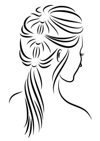 Profil de silhouette d'une tête de dame mignonne. La fille montre la tresse de coiffure féminine sur les cheveux longs et moyens. Convient pour la publicité, logo. Illustration vectorielle. Logo
