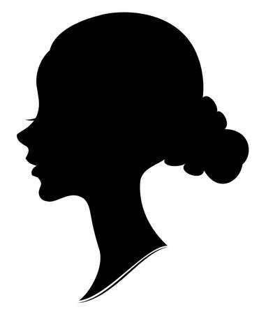 Silhouette des Kopfes einer süßen Dame. Das Mädchen zeigt ein weibliches Frisurenbündel auf mittleren und langen Haaren. Geeignet für Werbung, Logo. Vektor-Illustration.