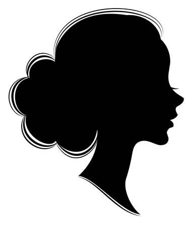Sylwetka głowy słodkiej damy. Dziewczyna pokazuje wiązkę kobiecej fryzury na średnich i długich włosach. Nadaje się na reklamę, logo. Ilustracja wektorowa. Logo