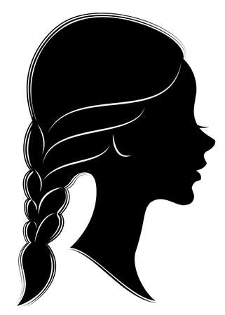 Silhouette profile of a cute lady s head. The girl shows the female hair braid on medium and long hair. Suitable for advertising, logo. Vector illustration.