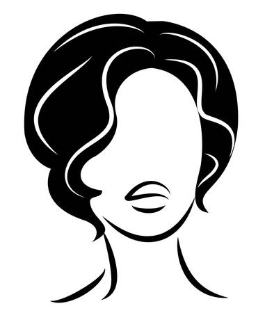Silhouette of a head of a sweet lady. A girl shows a hairstyle of a woman on long and medium hair. Suitable for logo, advertising. Vector illustration.