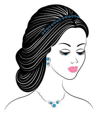 Silhouette of a profile of a sweet lady s head. The girl shows a female hairstyle on long and medium hair. Suitable for logo, advertising. Vector illustration.