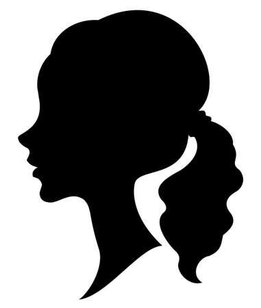 Siluetta di un profilo della testa di una signora dolce. Una ragazza mostra un'acconciatura a coda femminile su capelli medi e lunghi. Adatto per logo, pubblicità. Illustrazione vettoriale. Logo