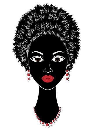 Silhouette eines Kopfes einer süßen Dame. Afroamerikanisches Mädchen zeigt ihr Haar auf langen und mittleren Haaren. Die Frau ist schön und stilvoll. Vektor-Illustration.