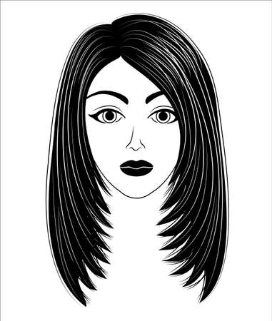 Silhouette of a head of a sweet lady. The girl shows her hairstyleon long and medium hair. The woman is stylish and beautiful. Vector illustration.