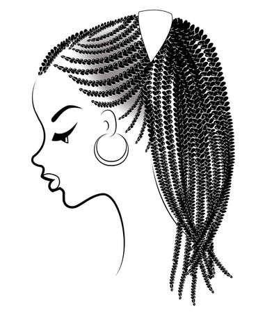Profiel van het hoofd van een lieve dame. Een Afro-Amerikaans meisje toont haar kapsel op halflang en kort haar. Silhouet, mooie en stijlvolle vrouw. Vector illustratie.