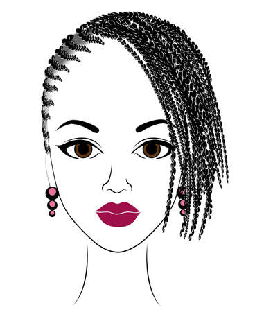 Profile of the head of a sweet lady. An African American girl shows her hairstyle on medium and short hair. Silhouette, beautiful and stylish woman. Vector illustration.