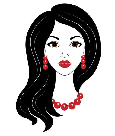 Silhouette of a head of a sweet lady. The girl has a hairstyle with beautiful long hair, red beads and earrings. The woman is beautiful and stylish. Vector illustration.