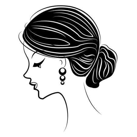 Silhouette of the head of a sweet lady. The girl shows a female hairstyle bundle on medium and long hair. Suitable for advertising, logo. Vector illustration. 일러스트