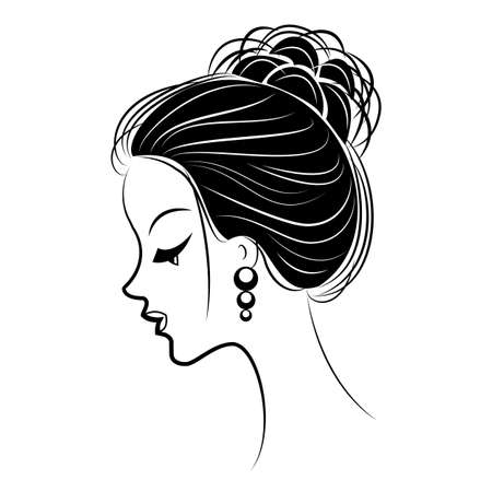 Silhouette of the head of a sweet lady. The girl shows a female hairstyle bundle on medium and long hair. Suitable for advertising, logo. Vector illustration.  イラスト・ベクター素材