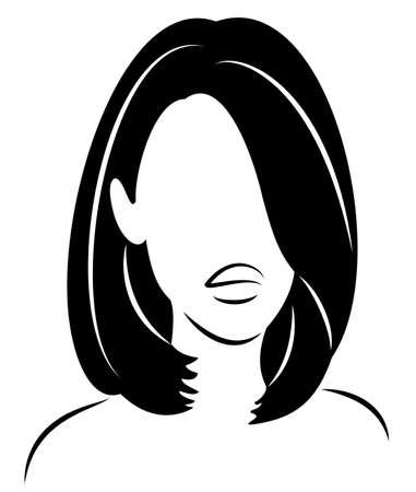 Siluetta di una testa di una dolce signora. La ragazza mostra la sua acconciaturasu capelli lunghi e medi. La donna è elegante e bella. Illustrazione vettoriale.