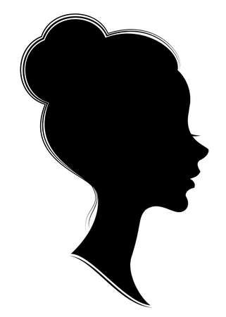 Silhouette of the head of a sweet lady. The girl shows a female hairstyle bundle on medium and long hair. Suitable for advertising, logo. Vector illustration. Illusztráció