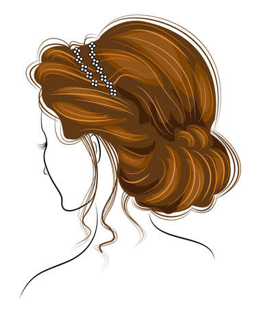 Silhouette of a head of a sweet lady. The girl shows a Greek hairstyle for long and medium hair. The woman isstylish and beautiful. Vector illustration.